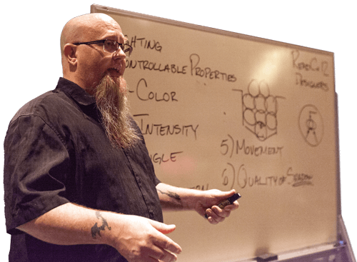 Ronn Campbell teaching with white board