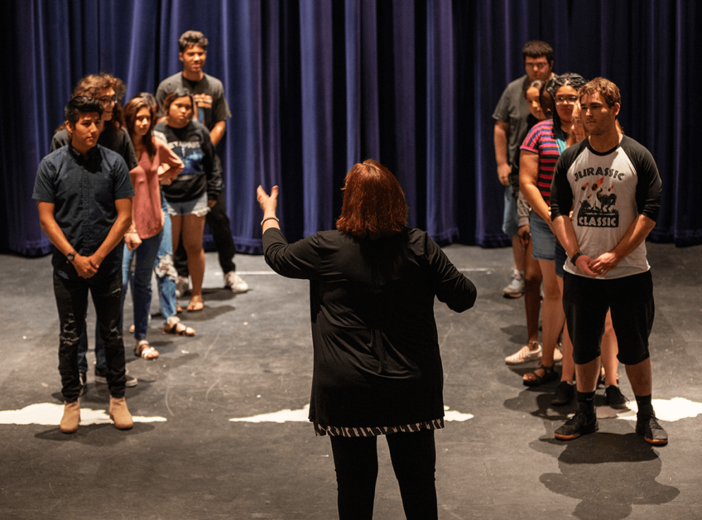 Theatre class instruction on stage